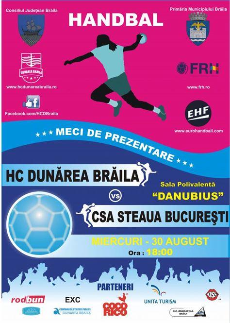 Dunarea Braila intalneste Steaua Bucuresti in meciul de prezentare