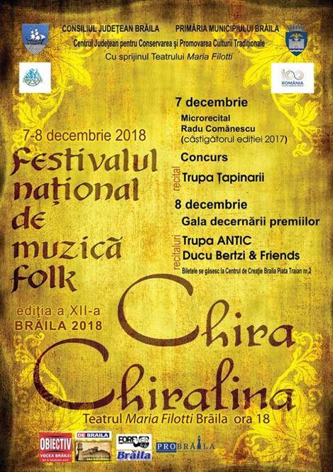 """Lista concurenților la ediția a XII-a a Festivalului Naţional de Folk """"Chira Chiralina"""""""