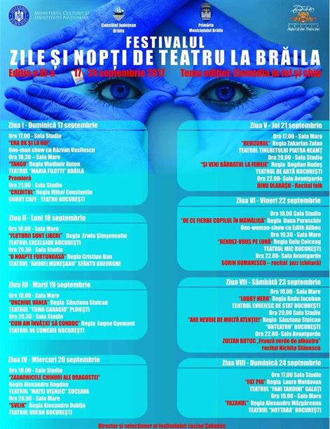 """Opt zile de teatru, muzica si poezie la Festivalul """"Zile si nopti de teatru la Braila"""""""