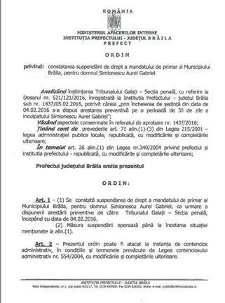 Ordinul prefectului de suspendare din functie a primarului Aurel Simionescu
