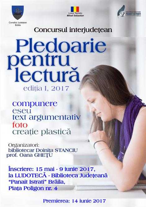 """Concurs interjudețean - """"Pledoarie pentru lectură"""""""