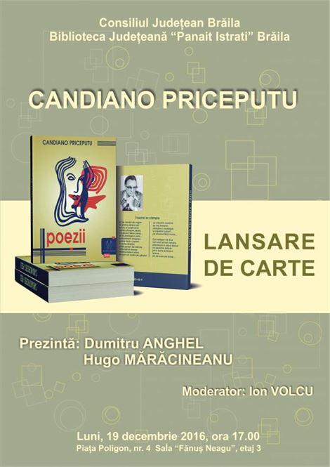 "Candiano Priceputu lanseaza cartea ""Poezii"""