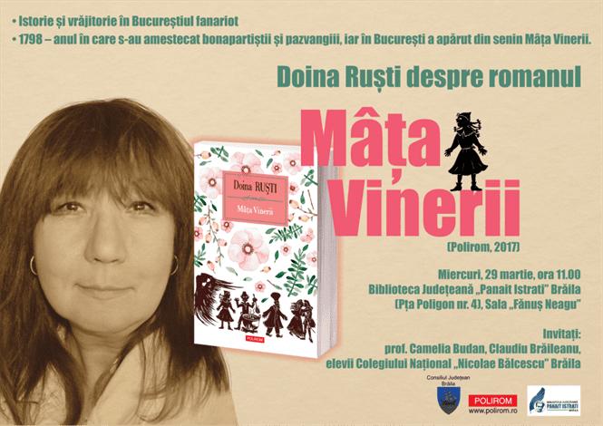 Lansarea romanului Mâța Vinerii, al scriitoarei Doina Ruști, la Biblioteca Județeană Brăila