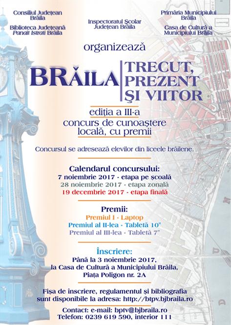 """Concursul de cunoaștere locală """"BRĂILA - TRECUT, PREZENT ȘI VIITOR"""""""