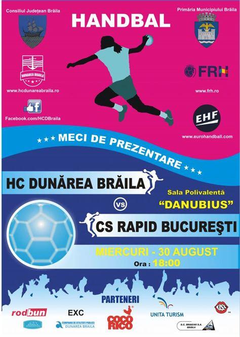 HC Dunarea Braila isi va prezenta lotul intr-un amical cu Rapid USL Bucuresti