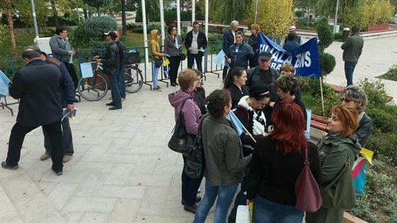 Sindicalistii de la BNS au pichetat prefectura Braila