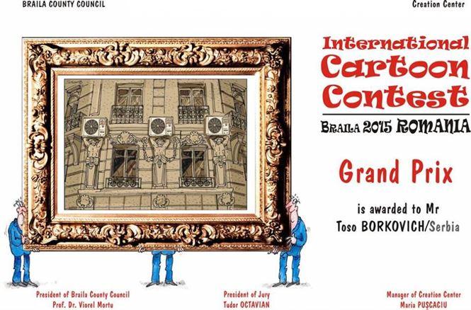 """scriitorul și criticul de artă Tudor Octavian, Marele Premiu al """"Salonului internațional de caricatură"""" – ediția 2015"""