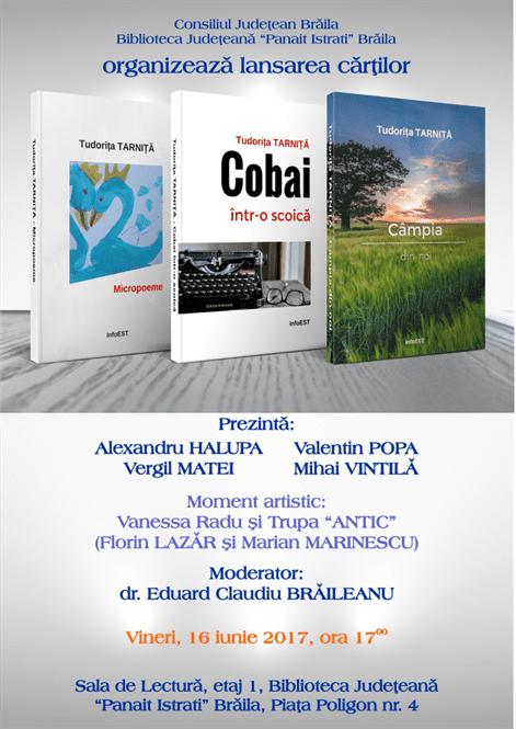 Tudorița Tarniță- tripla lansare de carte la Biblioteca Judeteana