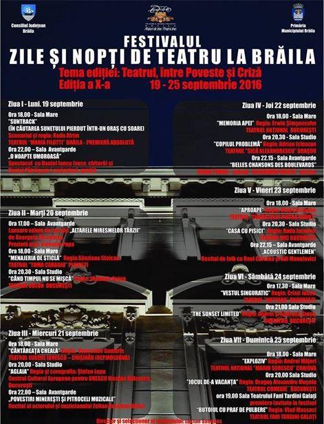 """S-au pus in vanzare bilete la Festivalul """"Zile şi nopţi de teatru la Brăila"""""""