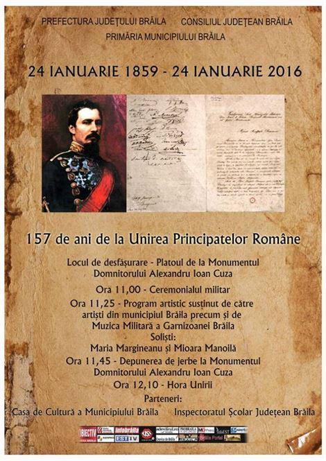 Programul manifestărilor dedicate Unirii Principatelor Române